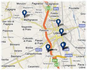 Mappa del latte a Udine